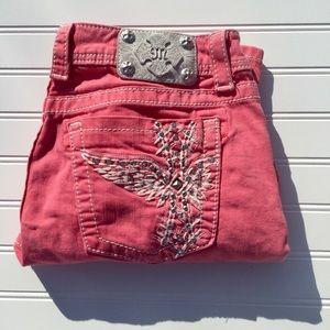 Miss Me Salmon Pink Angel Wing Bling Capri Jeans